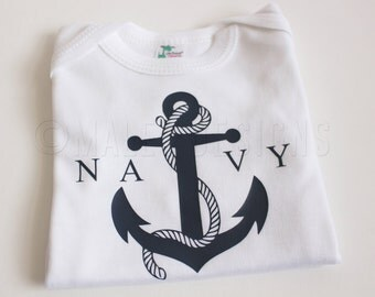 US Navy Baby outfit | Anchor Bodysuit | Nautical Baby Shower Decorations | Military Outfit | Navy Tshirt