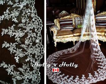 Bridal veil, wedding veil, ivory wedding veil, lace veil, long veil