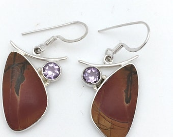 Jasper and Amethyst Dangle Earring