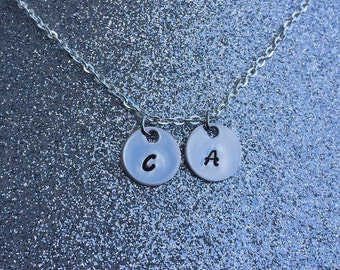 Personalized Initial Necklace - 2 Discs