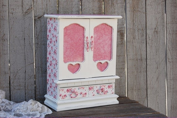 Jewelry Box Shabby Chic Jewelry Armoire By Thevintageartistry