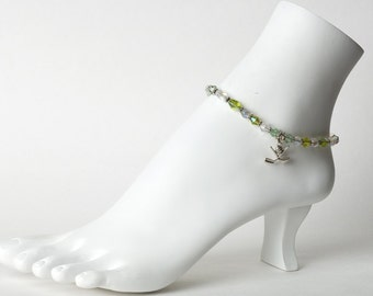 Golf crystal anklet with sterling charm