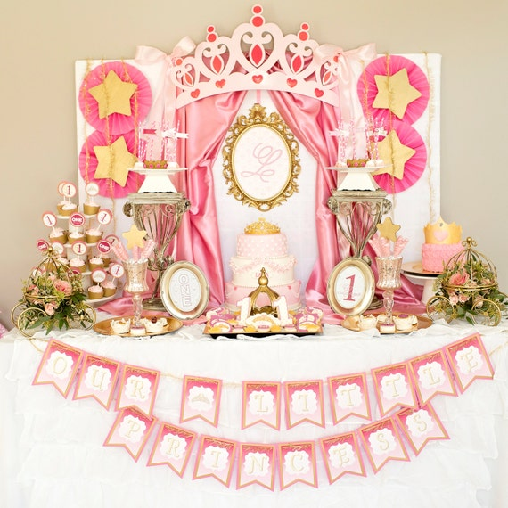 LITTLE PRINCESS BIRTHDAY Party Decorations Pink and Gold 1st