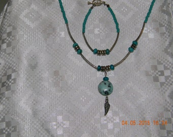 Turquoise and silver necklace and matching bracelet