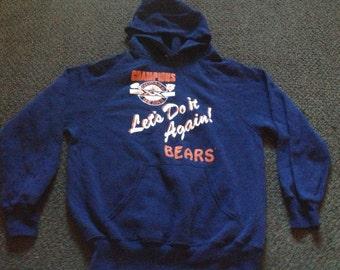 Rare Vintage Mens NFL Chicago Bears Football 1985 Super Bowl Champions lets Do it Again Hoodie Sweatshirt Size:M/L