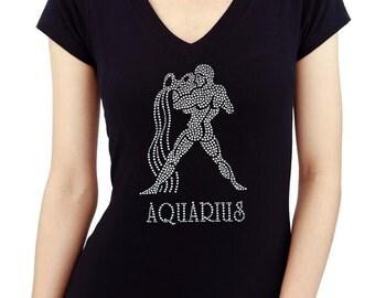 Zodiac AQUARIUS Handmade Rhinestone/stud Womens T shirt V Neck
