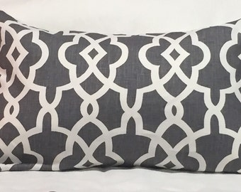Summer Palace Fret in Smoke Colorway- This Listing is for One Pillow