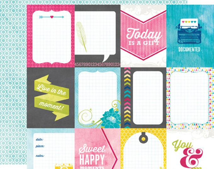 2 Sheets of Echo Park Paper HERE & NOW 12x12 Scrapbook Paper - 3x4 Journaling Cards