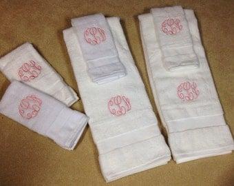 Custom Monogrammed Bathroom Towels