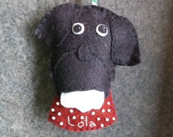 Custom/Personalized Dog Ornament, wool felt, christmas, hand-stitched