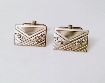Vintage Silver Tone Etched Cufflinks, Plant Wheat Laurel Cuff Links, Free US Shipping