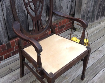 1880's Robert Mitchell Mohagony Shieldback Captain's Dining Chair; Antique Shieldback Chair
