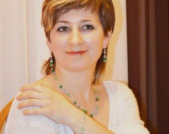 Chrysoprase Gemstone Necklace,Earrings and Bracelet,Crochet Strand Necklace