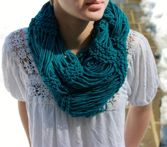 Blue Infinity Eternity Knit Drop Stitch Scarf for Teens and Juniors Knit Scarves For Teenagers