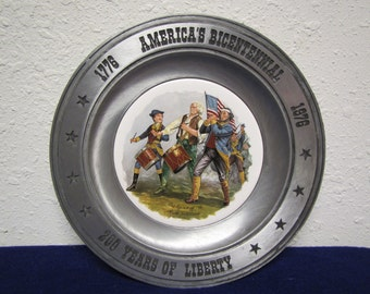 "America's Bicentennial pewter & Porcelain  plate "" The SPIRIT of 76 "" by R.M. Willard / America Art China Co."