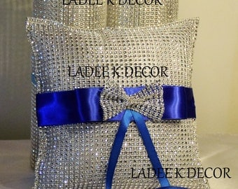 Bling Rhinestone Mesh Wrap Ring Bearer Pillow With Ribbon