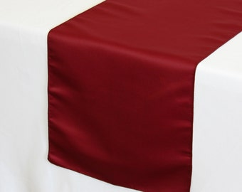 Dark Red Lamour Satin Table Runner | Wedding Table Runners
