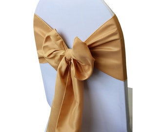 Gold Lamour Satin Chair Sashes (Pack of 10) | Wedding Chair Sashes