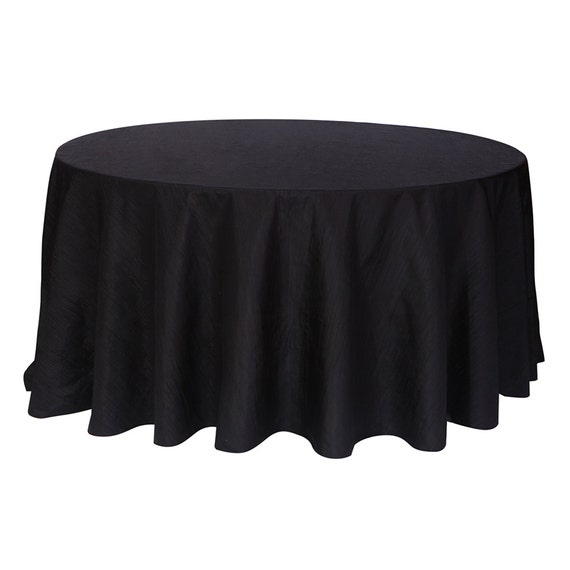 120 inch black crinkle taffeta round tablecloth wedding for 120 inch round table seats how many