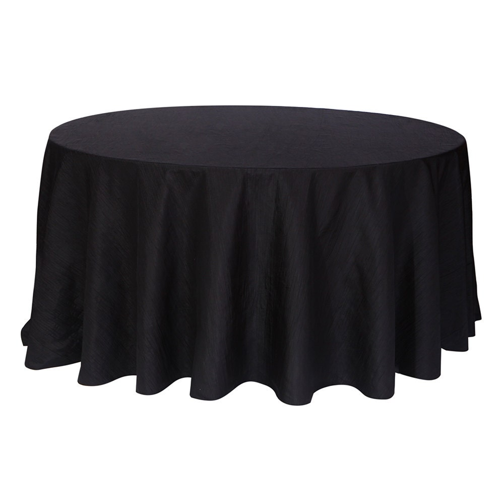 120 inch black crinkle taffeta round tablecloth wedding for 120 inch round table cloths