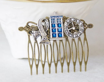 Tardis Hair Clip / Timelord Hair Clip / Dr. Who Hair Comb / Doctor Who Tardis Fascinator / Dr. Who Gift / Dr Who Wedding Hair
