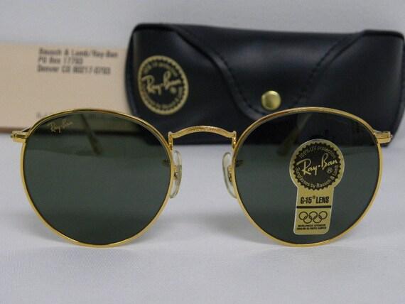 ray ban vintage hg22  New Vintage B&L Ray Ban Round Metal Gold G-15 49mm W0603 Sunglasses usa