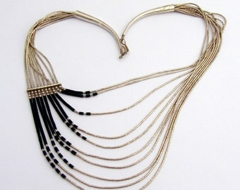 Liquid Silver Multi Strand Necklace Beads Sterling Silver