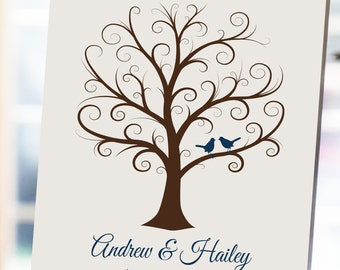 Wedding Fingerprint Tree - 16x20 - Thumbprint Wedding Tree - NB - Wedding Guest Book, Guestbook