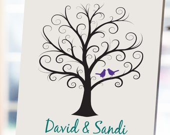 Wedding Fingerprint Tree - 11x14 - Thumbprint Wedding Tree - NB - Guest Book, Wedding Guestbook