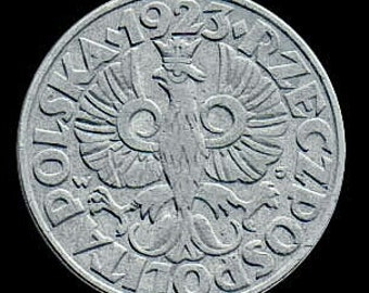 Art Deco Crowned Eagle coin from Poland - 50 groszy - 1923 - KM13 - like uncirculated