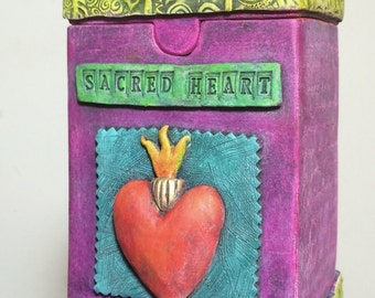Shrine Box ~ Ceramic clay sculptural box with Sacred Heart symbolism.
