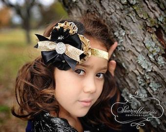 Holiday Headband/Black Headband/Toddler Headband/Girl Headband/Newborn Headband/Flower Headband/Gold Headband/Baby Headband/Tween Headband
