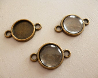 Kit Round Brass Cameo with Glass Cabochon of 10mm_PA0564454136_Bronze cameo two loops of 10 mm pack 30 pcs