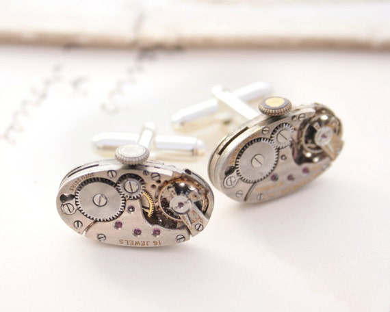 Wedding Gift For Groom Watch : Watch Cufflinks Wedding Cuff Link Gift for Groom Cufflinks Strerling ...