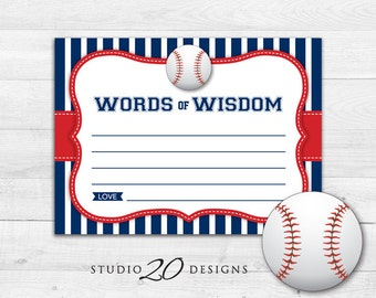 Instant Download Baseball Advice Cards, Printable Blue Red Baseball Words of Wisdom, Sports Baby Shower Games, Advice for Mom To Be 68A