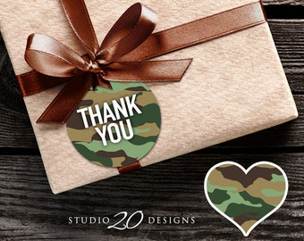 Instant Download Green Camo Gift Tags, Camouflage Favor Tags, Camo Thank You Tags 31B