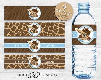 Instant Download Giraffe Bottle Labels, Printable Brown Blue Giraffe Water Bottle Labels, Safari It's a Boy Water Bottle Wraparounds 69B