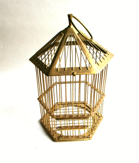Vintage Solid Brass Bird Cage Hanging Lantern by FeelzLikeHome