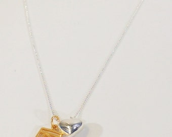 Sterling Charm Necklace with a Sterling Puffed Heart and Gold Love Tag Charm, Silver and Gold, Bridal Gift, SERN-35GG