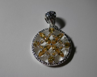 Vintage, Beautiful, Yellow Crystal Glass Silver Pendant - Charm, Sun, Womens Gift, Sparkle, Rhinestone Pendant, Womens Pendant, Jewelry