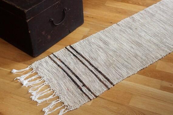 tapis de laine su doise vintage long ray beige runner blanc. Black Bedroom Furniture Sets. Home Design Ideas