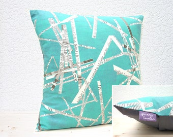 "SALE ITEM - Handmade 16""x16"" Cotton Cushion Pillow Cover in Aqua/White/Black Scattered Newspaper Retro/Abstract Collage Design Print"