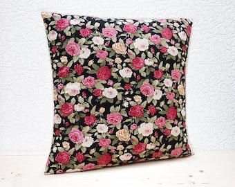 "Handmade 16""x16"" Cotton Cushion Pillow Covers in Pink/Red/White Pretty Retro Roses on Black Design Print"