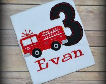 Third birthday shirt, fire truck birthday shirt, fire engine birthday party, boy birthday shirt, birthday tshirt, fireman birthday shirt