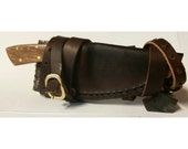 Fixed Blade Boot Knife with Wrap-around Boot sheath with snake skin inlay