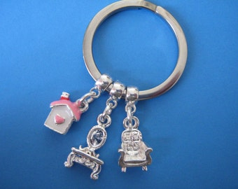 Dolls House Keyring Doll House Keychain Gift for Dolls House Collector Miniature Furniture