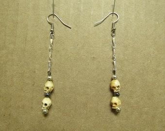 Hand Made Unusual 2 Bone Skull Dangle Earrings on a French Wire 07