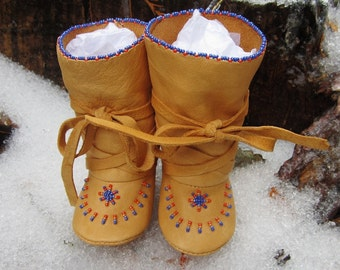 Baby Boy Boots Leather Baby Boots Native American Made Mukluks Soft Soled Baby Boots Baby Beaded Hightop Moccasins Native Baby Clothing Gift