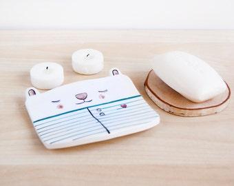 Ceramic Soap dish, Rabbit ceramic soap dish, Draining soap dish, Soap holder, Soap dish ceramic, Ceramics and pottery, Bathroom accessories