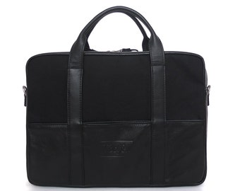 Messenger : Black cotton canvas and leather
